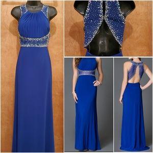 NWT Cobalt Blue Morgan & Co Long Evening Dress